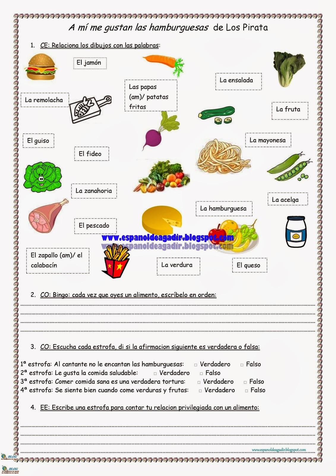 Cancion A Mi Me Gustan Las Hamburguesas Vocabulario De La Comida Verduras Y Frutas